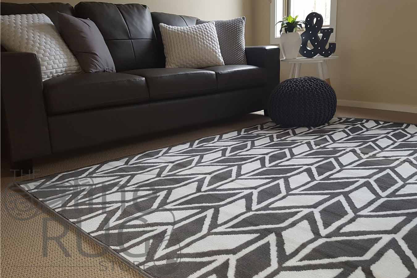 Grey White Herringbone Chevron
