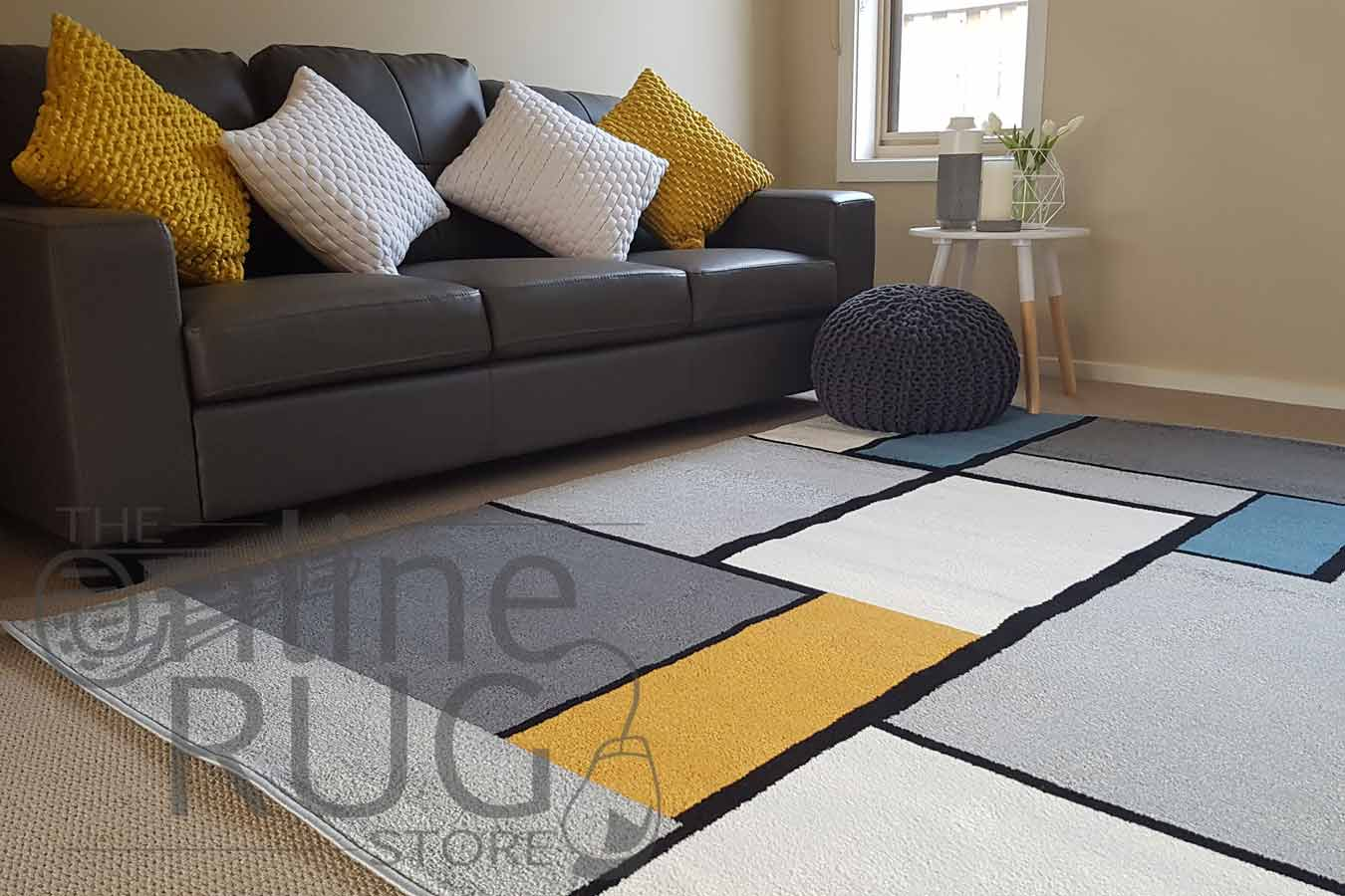 Grey Blue Yellow Tile Pattern The Online Rug Store