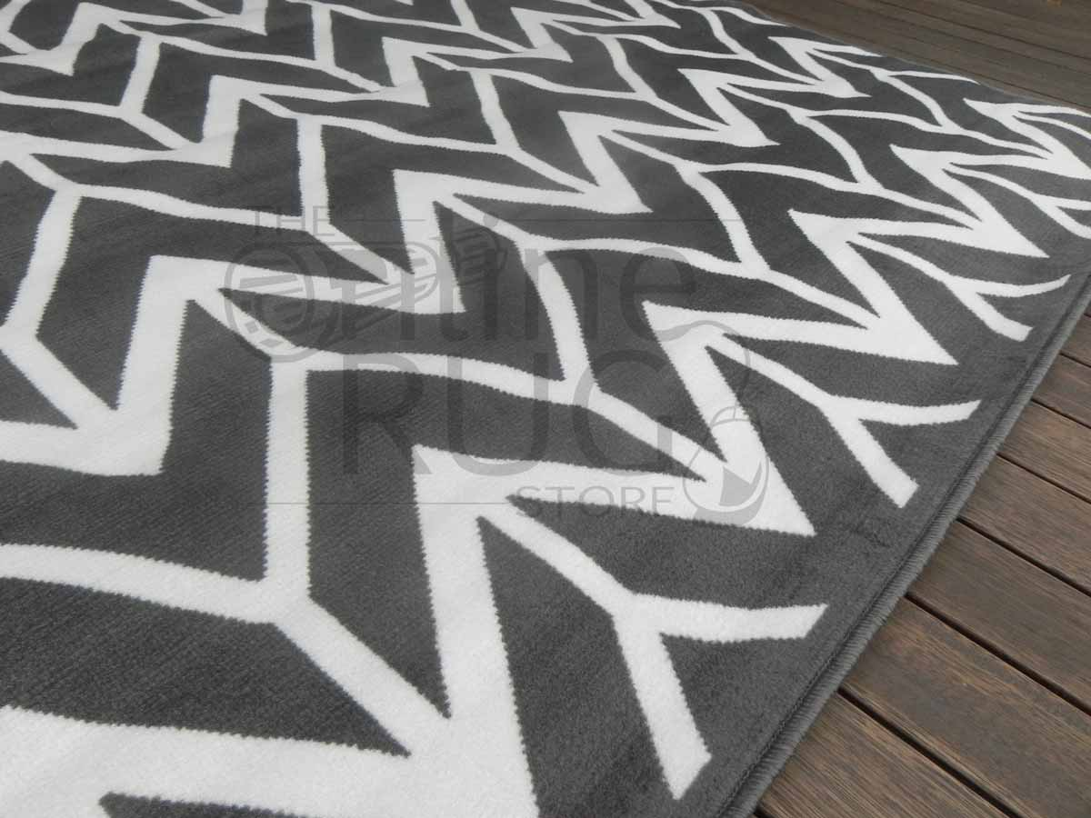 Grey And White Carpet Runner: Studious Herringbone Chevron Grey White