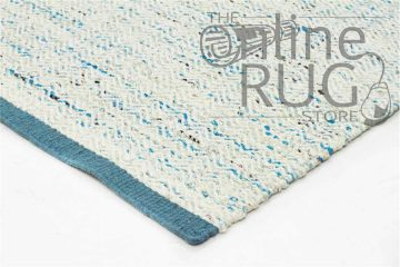 Turquoise White Chevron Scandinavian Felted Wool Rug