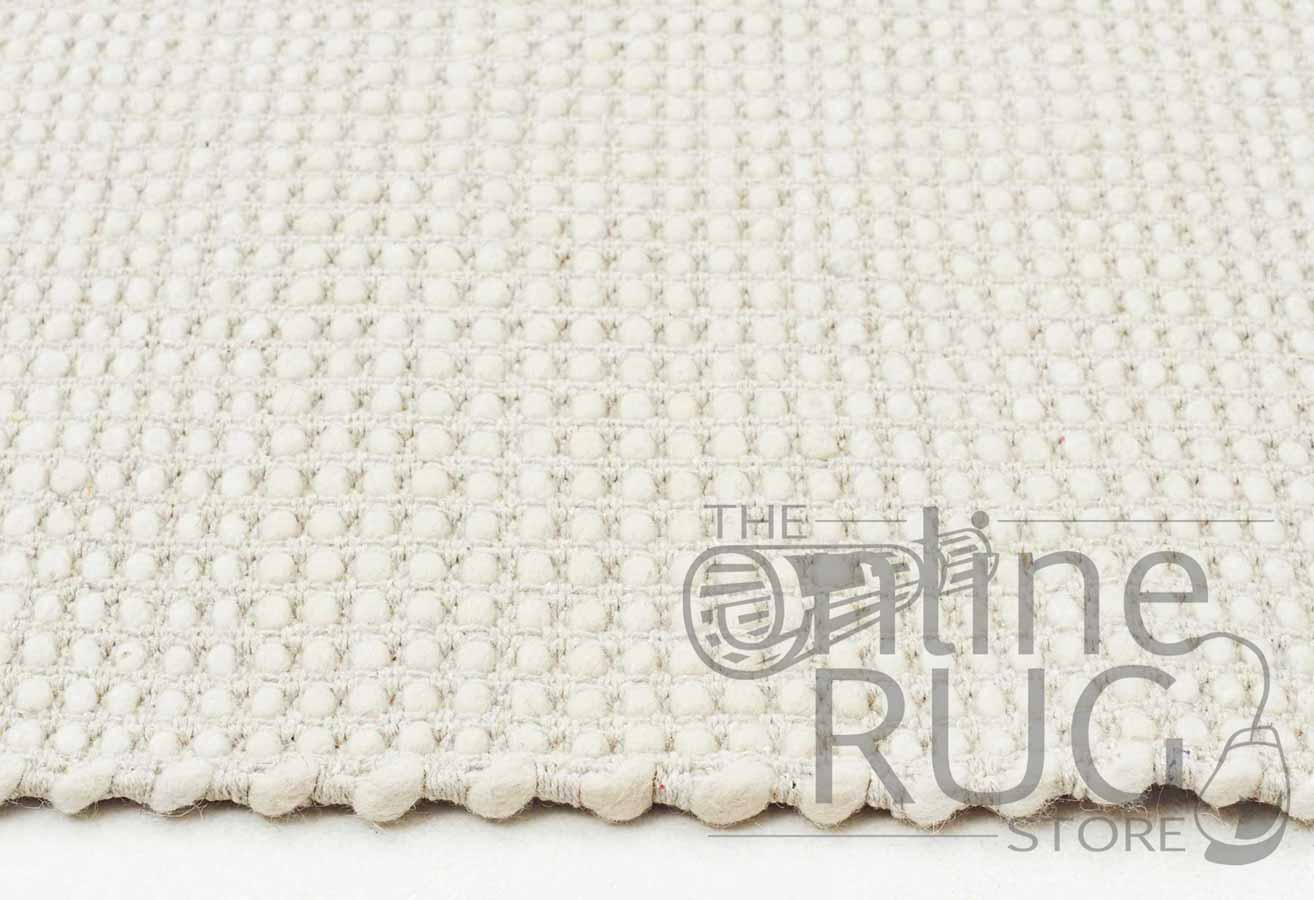 White Scandinavian Felted Wool Rug