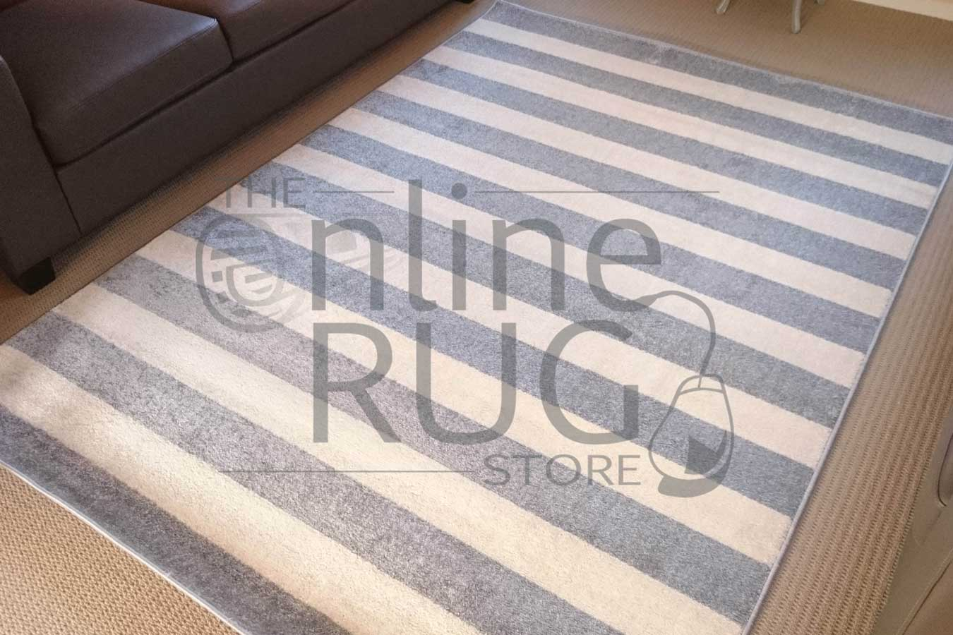 Grey Off White Stripe Rug