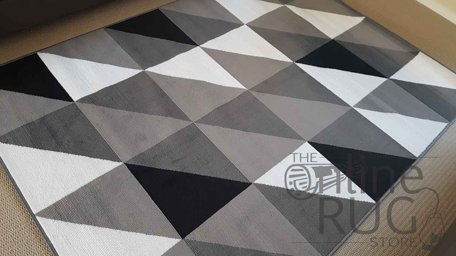 Grey Black White Geometric Triangle The Online Rug Store