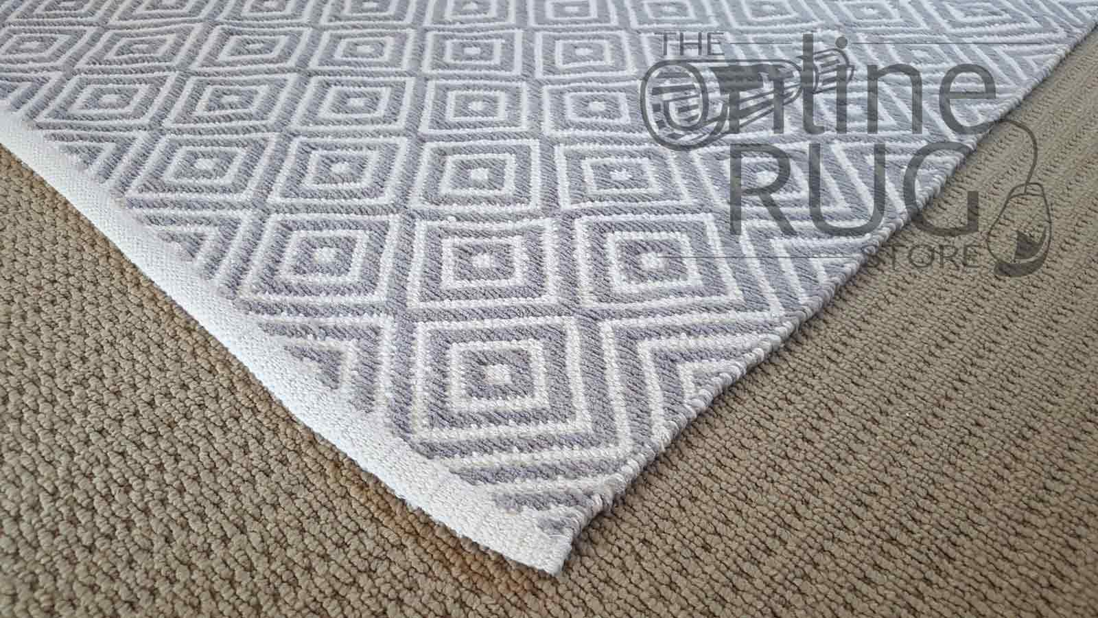 Hampton Diamond Grey White The Online Rug Store