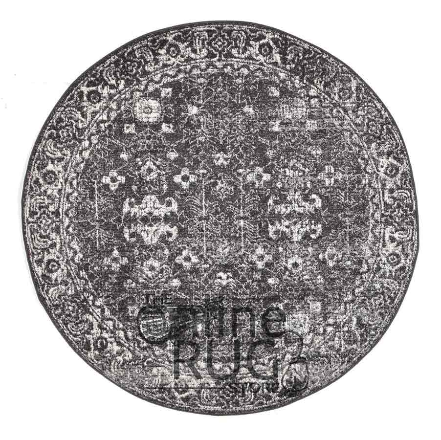 Awaken Charcoal Overdyed Power Loomed Round Rug