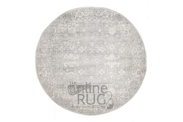 Awaken Silver Power Loomed Round Rug