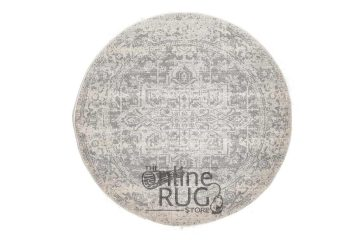 Awaken White Silver Power Loomed Round Rug