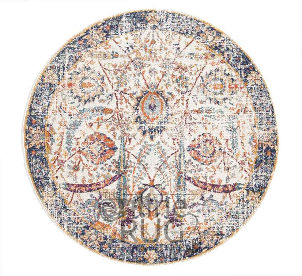 Awaken Ivory Orange Power Loomed Round Rug