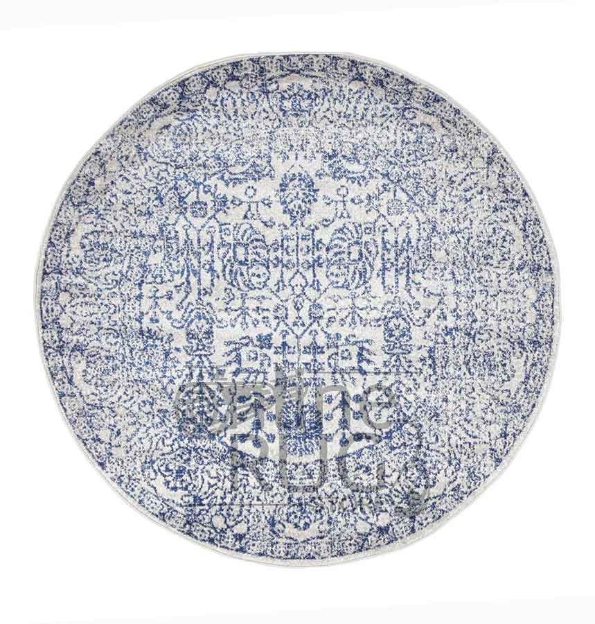 Awaken Blue White Power Loomed Round Rug