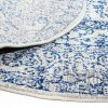 Blue White Power Loomed Round Rug