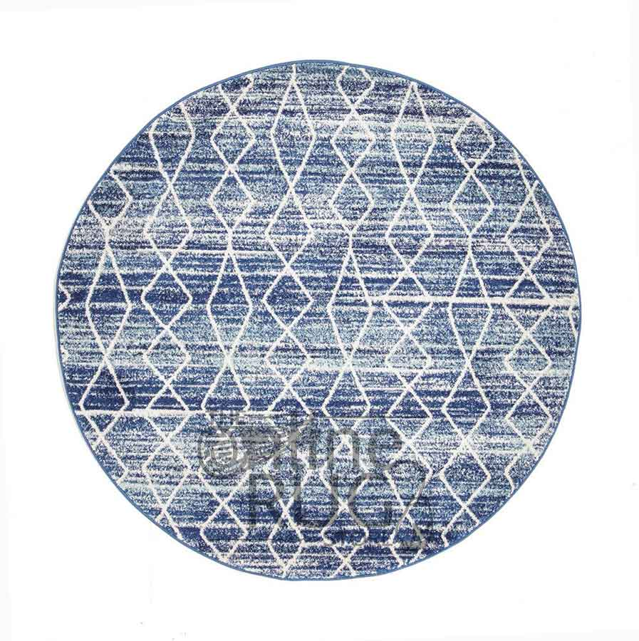 Awaken Blue Diamond Power Loomed Round Rug