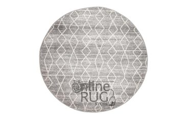 Awaken Silver Diamond Power Loomed Round Rug