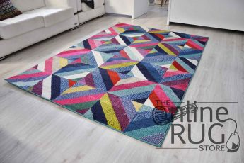 Vibrant Rainbow Geometric Diamond Rug