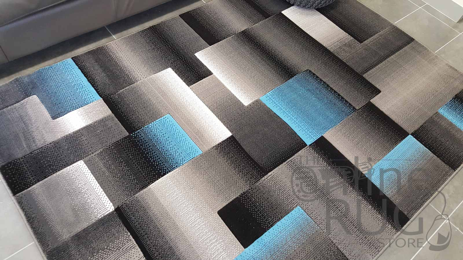 Style Blue Grey Geometric Square The Online Rug Store