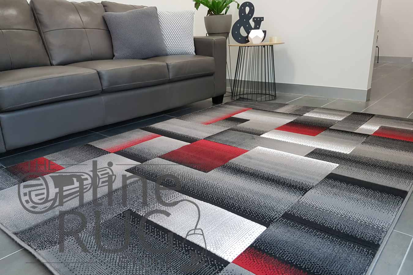 Style Red Grey Geometric Square The Online Rug Store