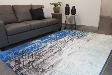 Awaken Blue Canvas Power Loomed Rug