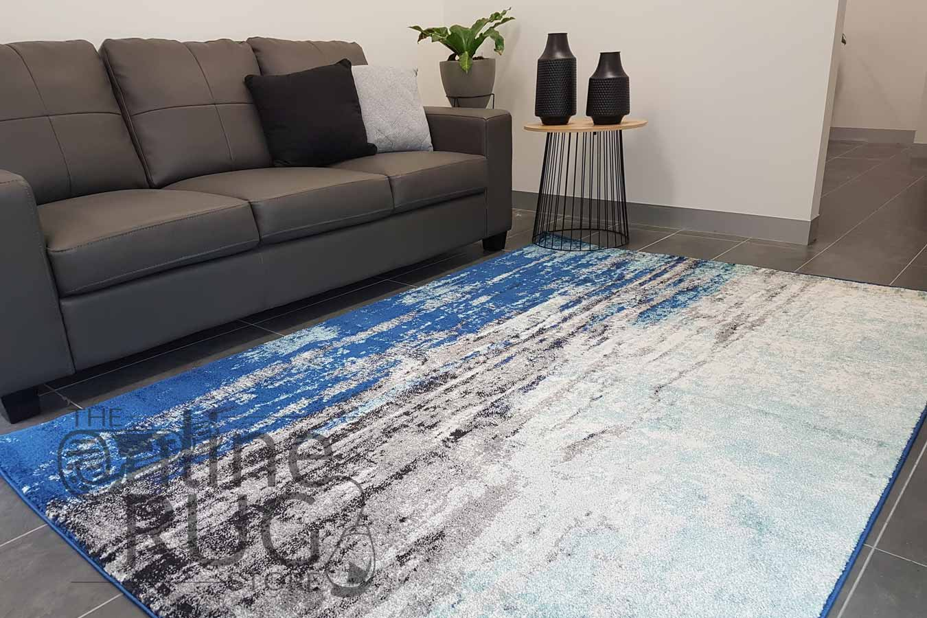 Awaken Blue Canvas Power Loomed Rug -Catalogue