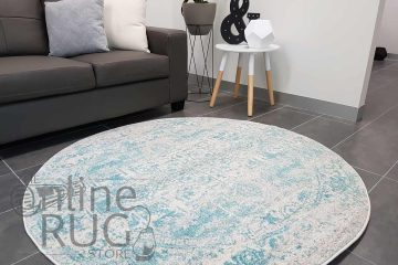 Awaken White Blue Power Loomed Round Rug