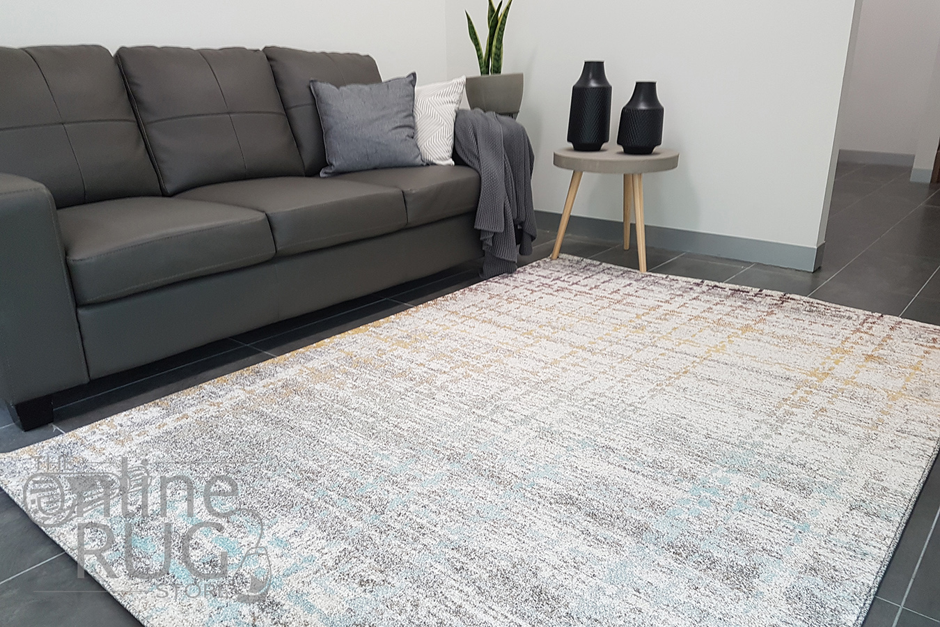 Aspire Grey Orange Abstract Pattern Rug The Online Rug Store