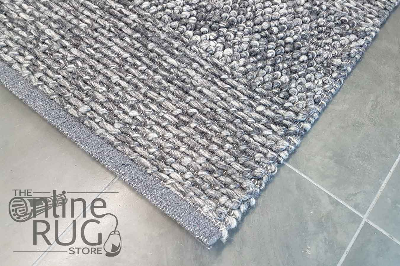 Essence Armani Multi Weave Dark Grey Felted Wool Rug