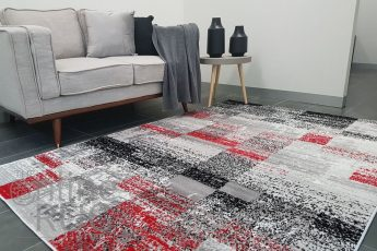 Freedom Black Red Tile Abstract Pattern Rug (1)