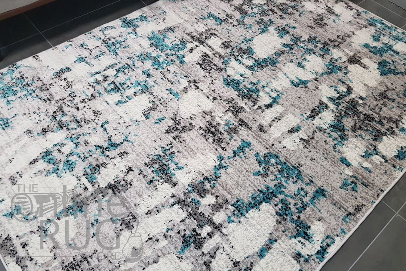 Freedom Grey Blue Abstract Pattern Rug