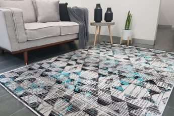 Freedom Grey Blue Geometric Diamond Pattern Rug (1)