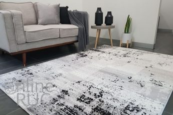 Freedom Grey Monochrome Tile Abstract Pattern Rug (1)