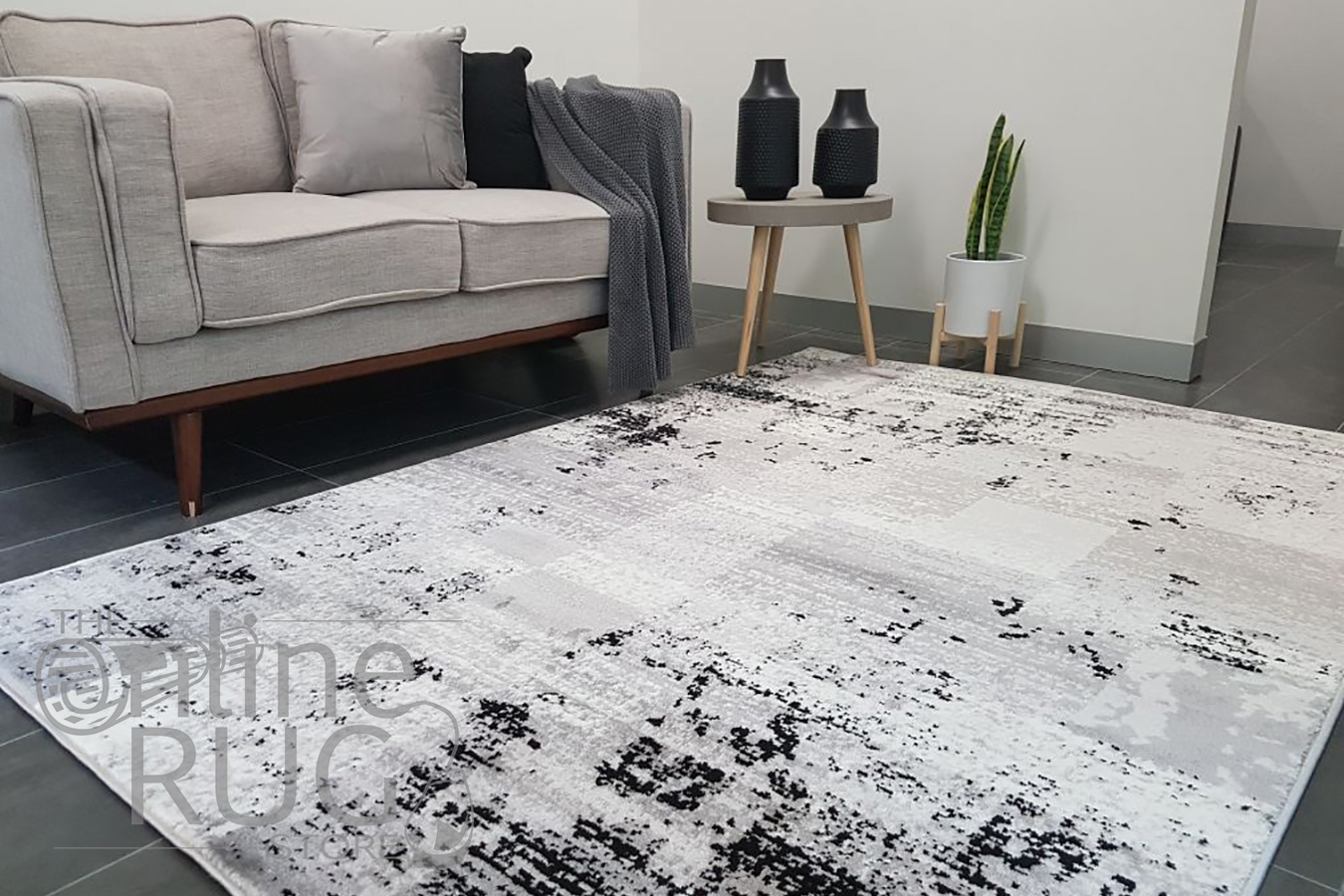 Freedom Grey Monochrome Tile Abstract Pattern Rug