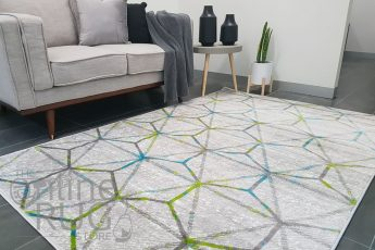 Freedom Grey Yellow Geometric Hexa Pattern Rug (1)