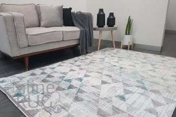 Freedom Light Grey Blue Geometric Diamond Pattern Rug (1)
