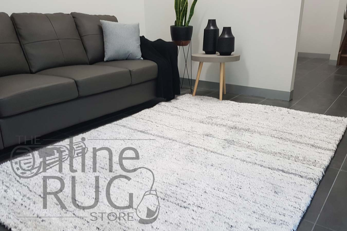 Hunter Plush Light Grey Stripes Rug