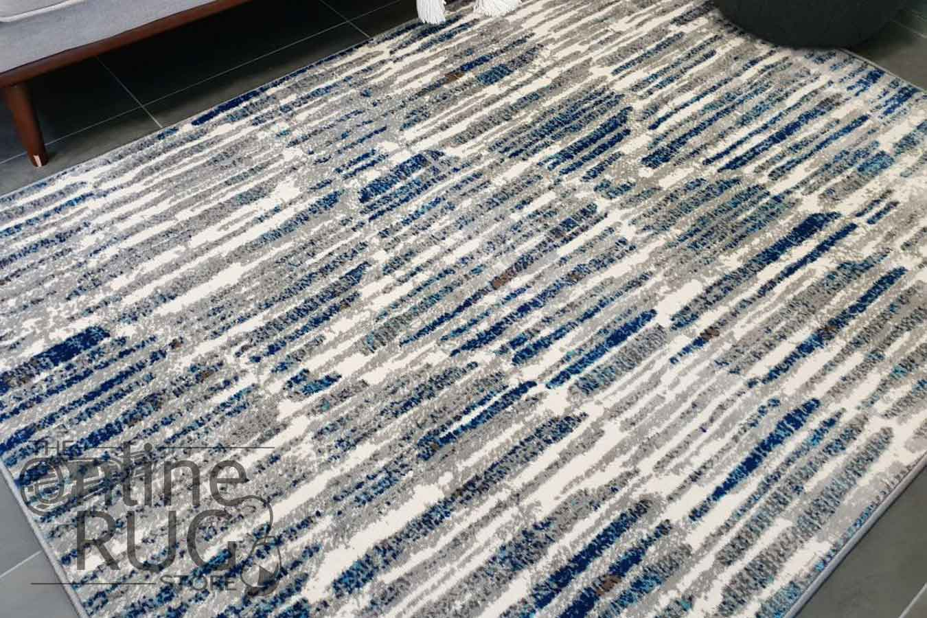 Austine Grey Blue Abstract Scales Rug