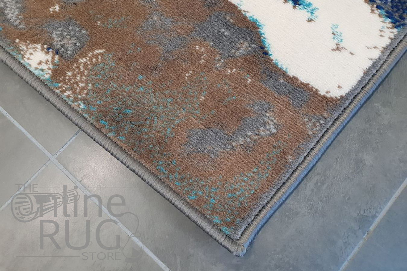 Austine Grey Brown Blue Splatter Pattern Rug