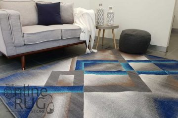Austine Blue Grey Abstract Diamond Pattern Rug