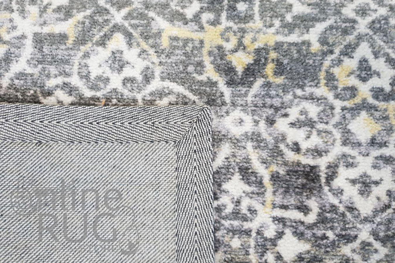 Metro Grey Flower Pattern Rug