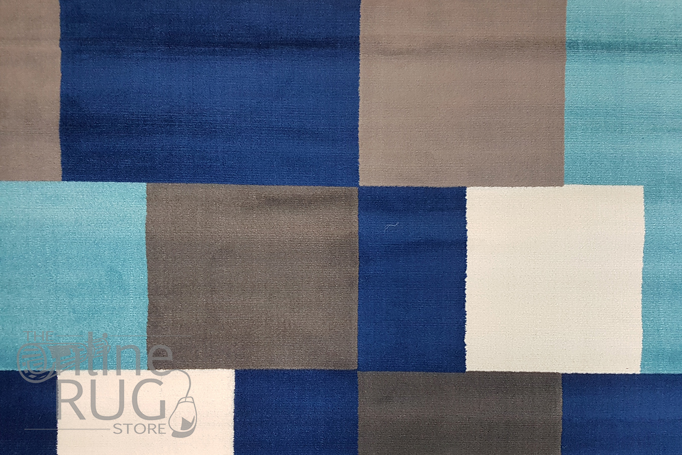 Industry Blue Multicoloured Tiles Rug The Online Rug Store