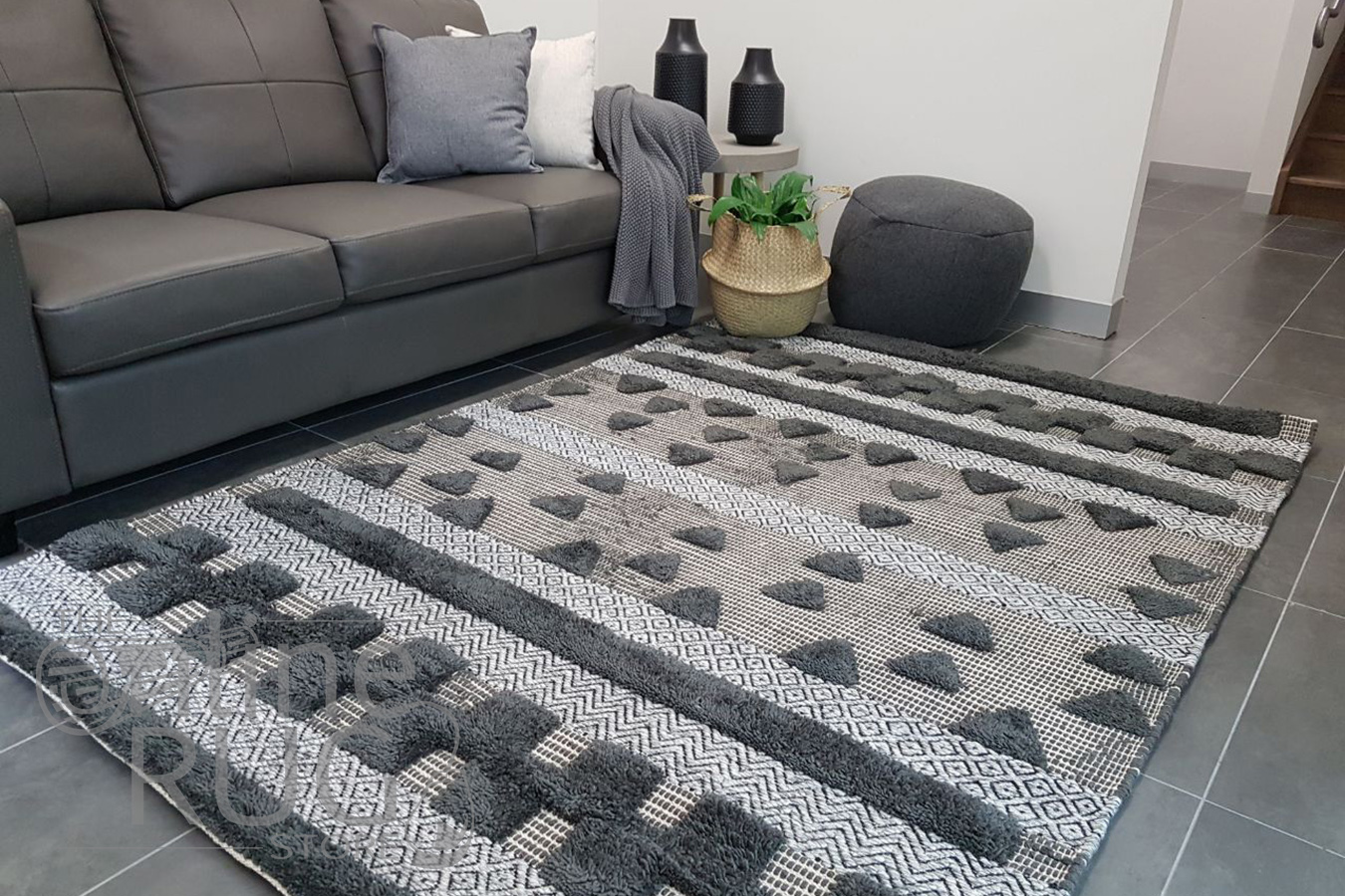 Bohemian Charcoal Hand Loomed Textured Rug The Online