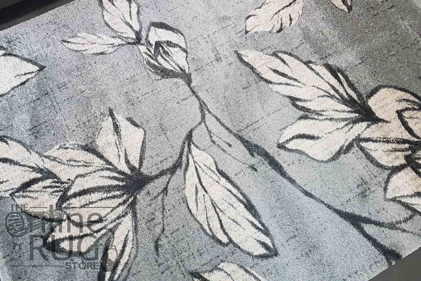 Space Grey Floral Abstract Rug