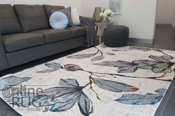 Space Natural White Floral Abstract Rug (1)
