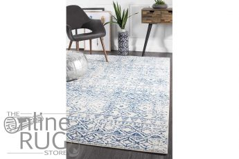 Heaven Blue White Tribal Diamond Rug (1)