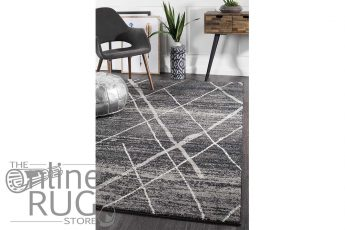 Heaven Charcoal Grey Abstract Diamond Pattern Rug (1)
