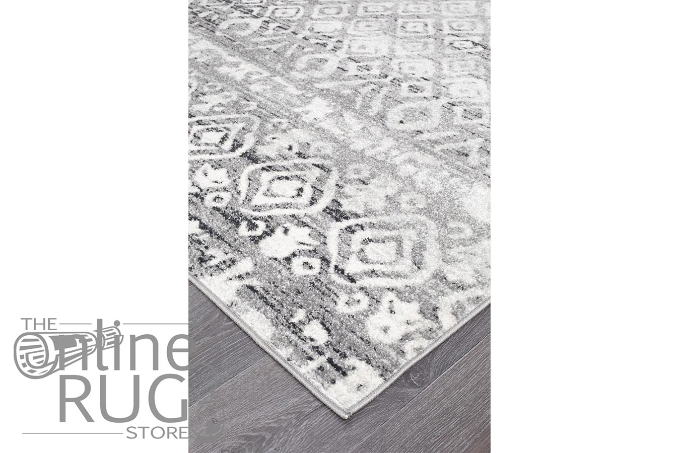 Heaven Dark Grey Diamond Pattern Rug