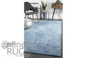 Heaven Navy Blue Geometric Diamond Rug (1)