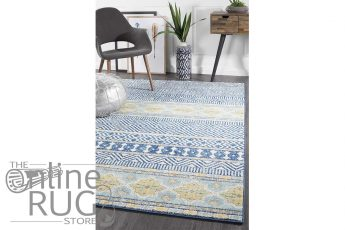 Heaven Navy Blue Tribal Bohemian Rug (1)
