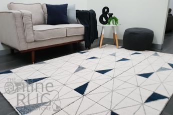 Aiden Navy Blue and Grey Geometric Diamond Pattern Rug (1)