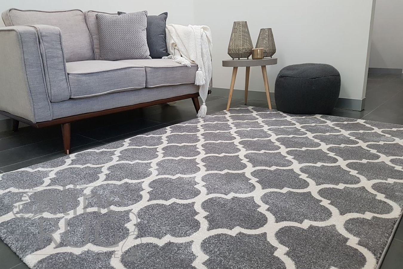 Lorine Light Grey White Moroccan Lattice Rug (1)