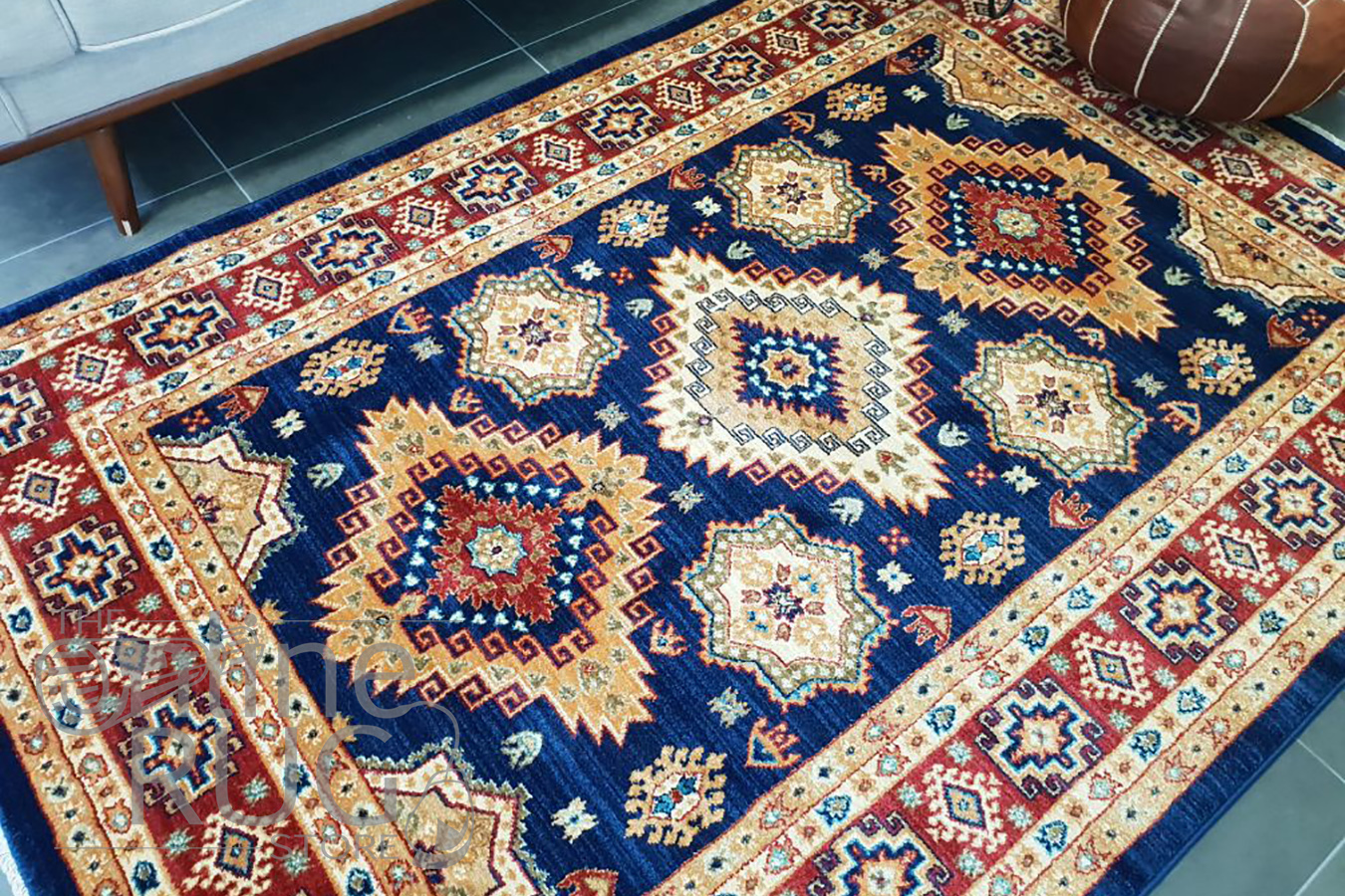 Mahala Blue Geometric Traditional Rug The Online Rug Store