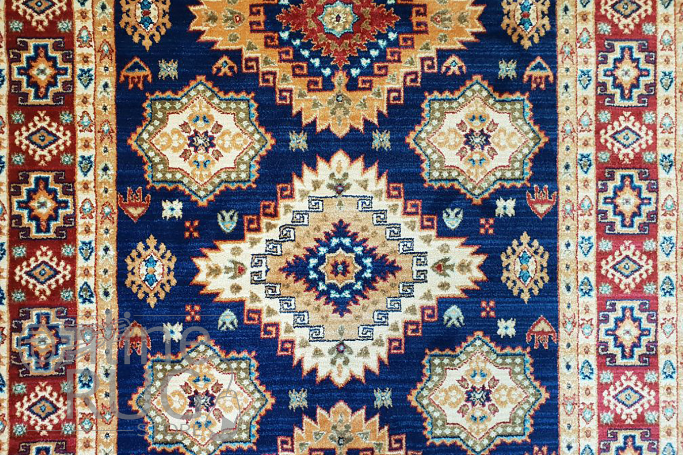 Mahala Blue Geometric Traditional Rug