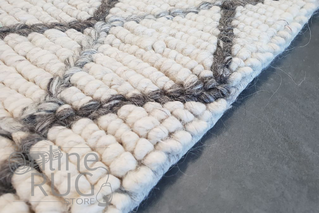 Civic Ivory Diamond Hand Woven Wool Rug